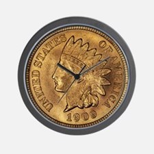 1909 Indian Cent Round Wall Clock