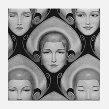 Art Deco Flapper Faces Tile Coaster