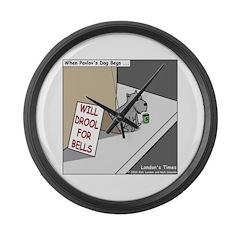 Pavlovs Dog Begging Large Wall Clock