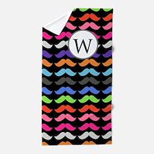 Custom Monogram Mustache Pattern Beach Towel