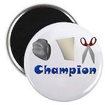 "Rock Paper Scissor Champ 2.25"" Magnet (10 pack)"