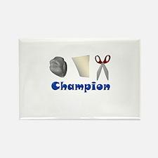 Rock Paper Scissor Champ Rectangle Magnet