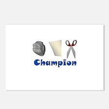 Rock Paper Scissor Champ Postcards (Package of 8)