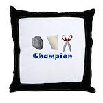 Rock Paper Scissor Champ Throw Pillow