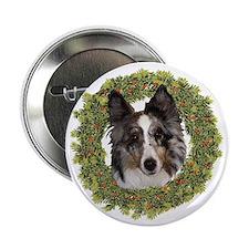 "Wreath Sheltie Merle 2.25"" Button"