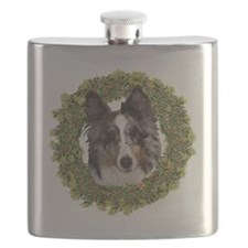 Wreath Sheltie Merle Flask