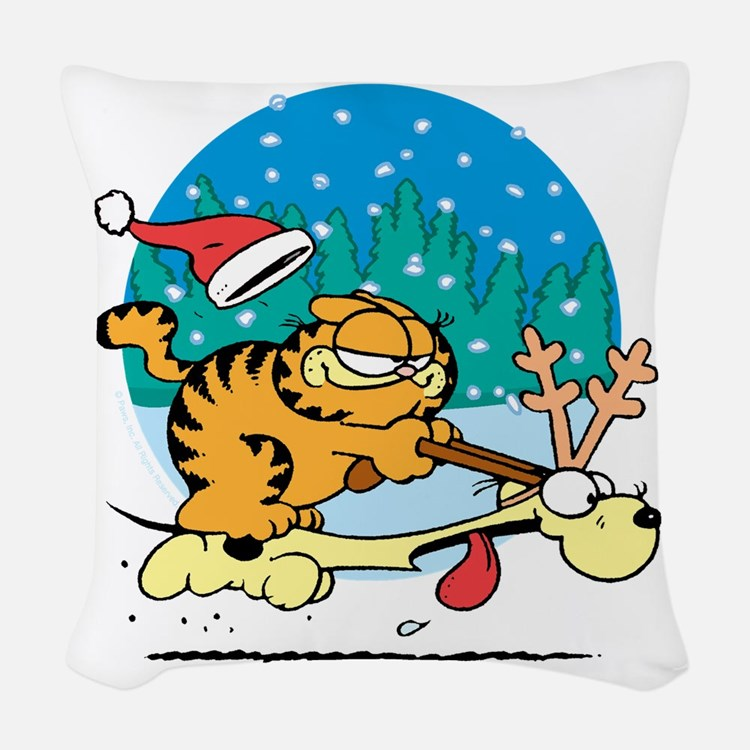 Odie Reindeer Woven Throw Pillow