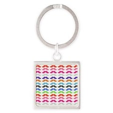 Girly Colorful Pattern Mustaches Keychains