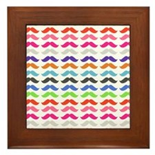 Girly Colorful Pattern Mustaches Framed Tile