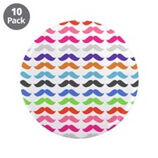 "Girly Colorful Pattern Mustaches 3.5"" Button (10 p"
