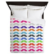 Girly Colorful Pattern Mustaches Queen Duvet