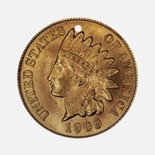 1909 Indian Cent Ornament Round