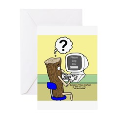 Log On Greeting Card