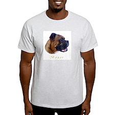 Boxer Painting Portrait Freddie Ash Grey T-Shirt