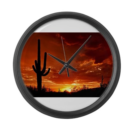 Saguaro Sunset-2 Large Wall Clock