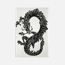 Oriental Dragon Fantasy in Black Rectangle Magnet
