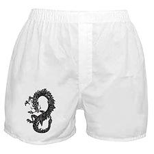 Oriental Dragon Fantasy in Black Boxer Shorts