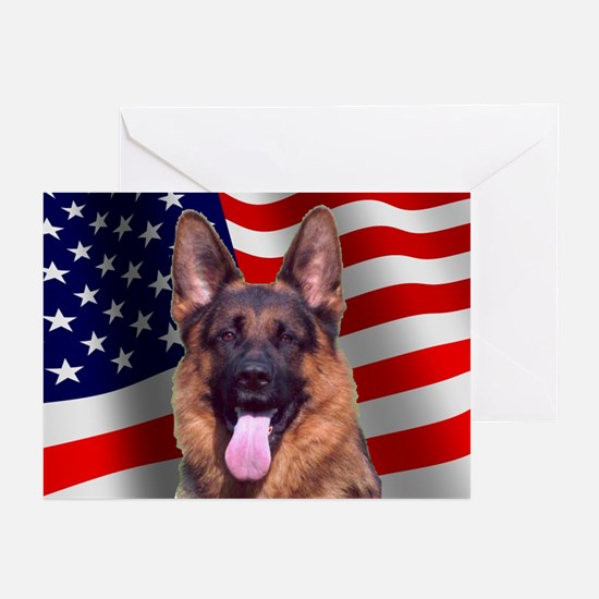 Patriotic German Shepherd Greeting Cards (Package