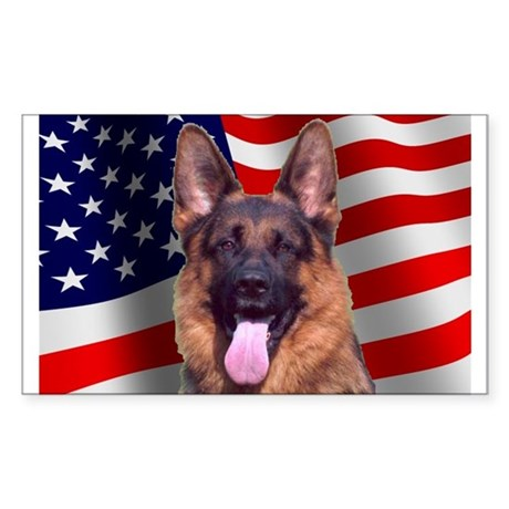 Patriotic German Shepherd Rectangle Sticker