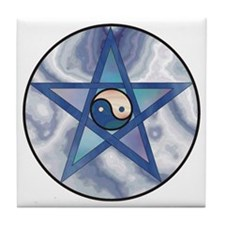 Yin Yang Pentagram Tile Coaster