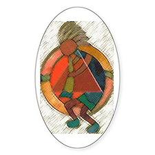 Kokopelli healing Oval Decal