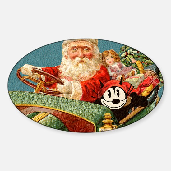 09 SANTA CAR Sticker (Oval)