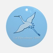 Stork with New Baby Boy Ornament (Round)