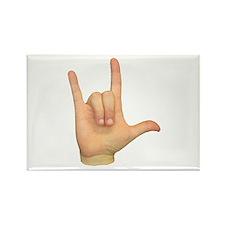 ASL I Love You Hand Rectangle Magnet