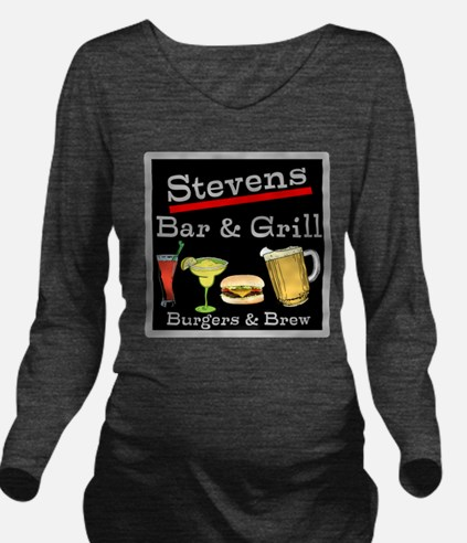 Personalized Bar and Grill Long Sleeve Maternity T