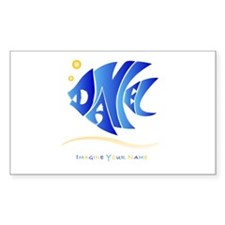 Daniel blue fish Rectangle Decal
