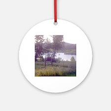 Landscape water scene note card Round Ornament