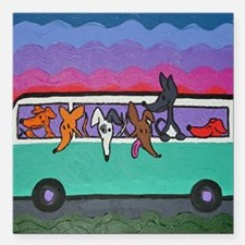 "GoGreyhound Square Car Magnet 3"" x 3"""
