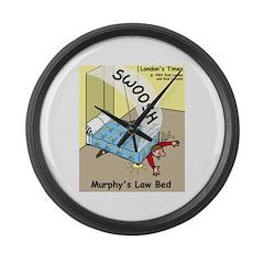 Murphys Law Bed Large Wall Clock
