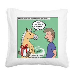 Gift Horse Square Canvas Pillow