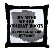 National Guard Husband Combat Boots Throw Pillow