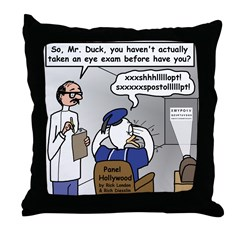 Duck at the Eye Doctor Throw Pillow
