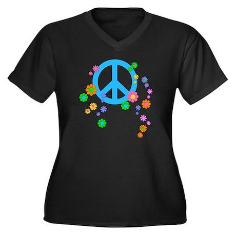 peace08-whit Women's Plus Size Dark V-Neck T-Shirt