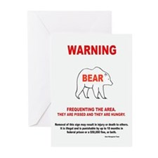 Bear Danger Greeting Cards (Pk of 10)