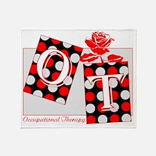 ot letter blocks red gray Throw Blanket