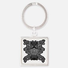 BW Transparent Square Keychain