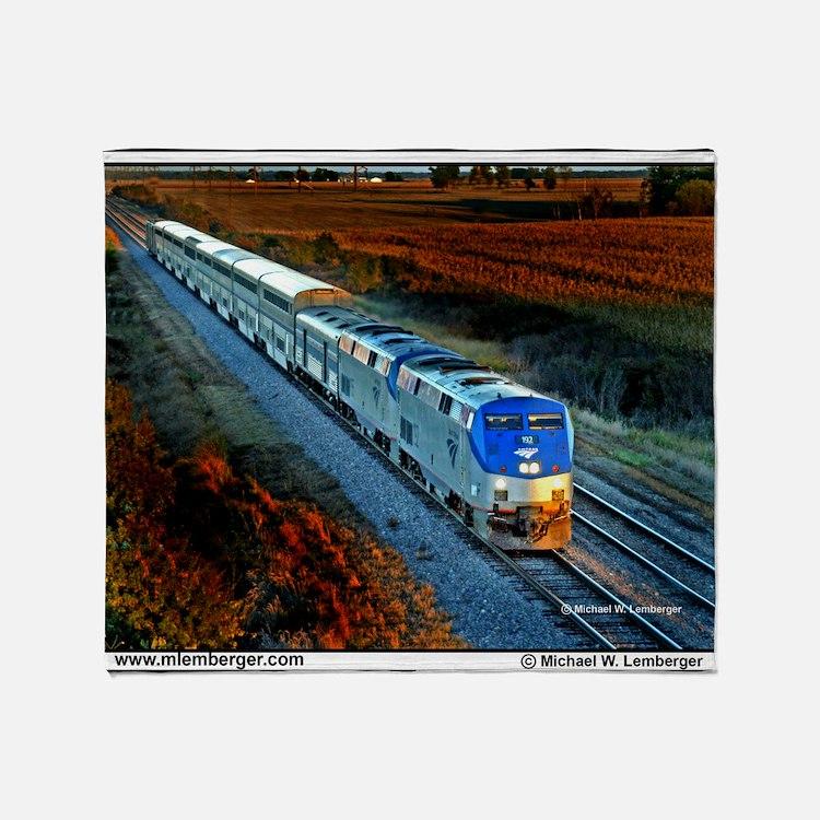 XRR-AMTRAK into sunset 2005 Engine # Throw Blanket