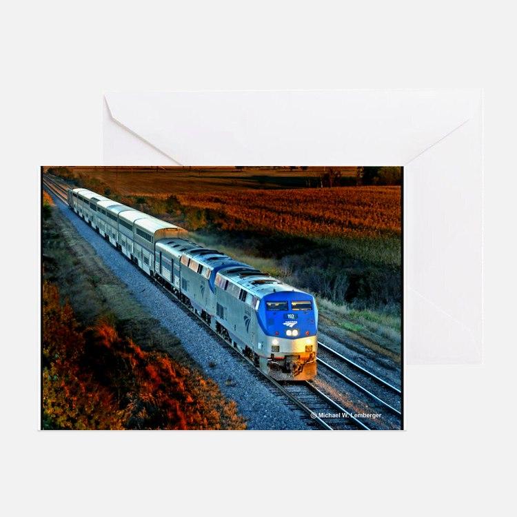 XRR-AMTRAK into sunset 2005 Engine # Greeting Card