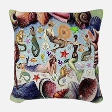 Mermaids Woven Throw Pillow
