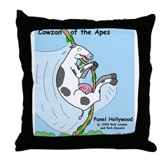 Cowzan of the Apes Throw Pillow