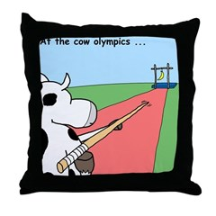 Cow Olympics Throw Pillow