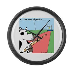 Cow Olympics Large Wall Clock