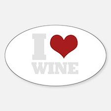 I love wine Oval Decal