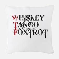 WTF WHISKEY TANGO FOXTROT Woven Throw Pillow