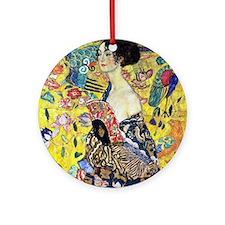 Woman with Fan by Gustav Klimt Round Ornament