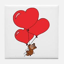 Bear Holding Heart Balloons Tile Coaster